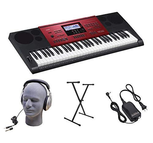 Casio 61-Key Portable Premium Keyboard Pack with Stand, Headphones & Power Supply (CTK-6250 PPK)