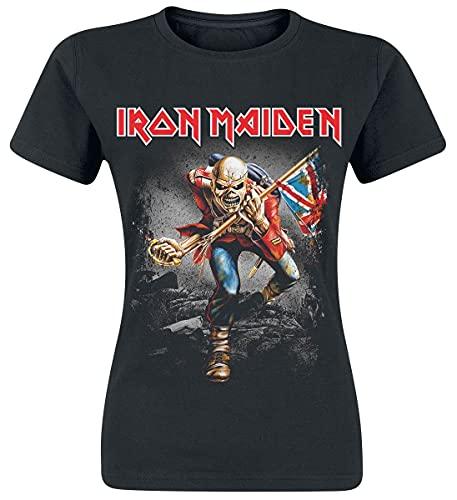 Iron Maiden Vintage Trooper Mujer Camiseta Negro S, 100% algodón, Regular