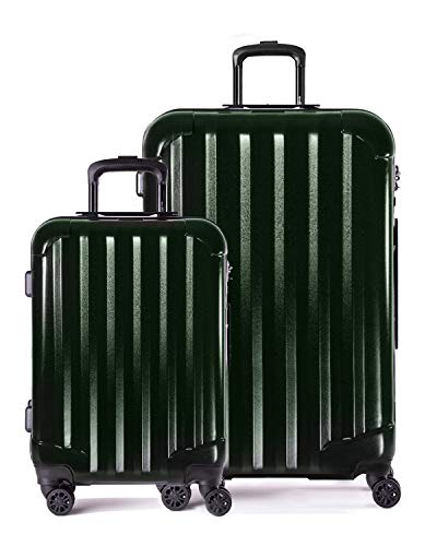 Genius Pack Hardside Luggage Spinner - Smart, Organized, Lightweight Suitcase - TSA Approved Cabin Size (Aerial - Brushed Chrome)