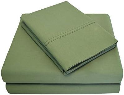 SUPERIOR Cotton famous Percale Deep Pocket 4-Pie Sage Excellence Sheet Set Full