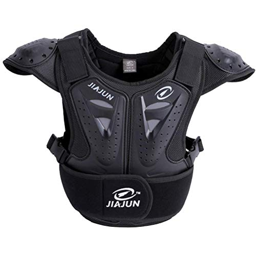 Children's Professional Armor Vest Protective Gear Jackets Guard Shirt For Dirtbike Motocross Skiing Snowboarding Dirt Bike Body Chest Spine Protector Back Motorcycle Support (Black, L)