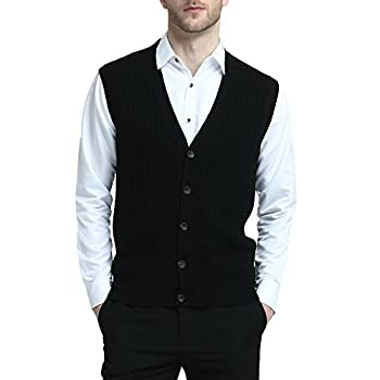 Kallspin Men s Cashmere Wool Blended Vest Sweater Cable Knit Relaxed Fit V Neck Sleeveless Knitted Button Vest Cardigan  Black X-Large