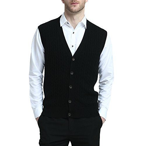 Kallspin Relaxed Fit Mens Cable Stripe V Neck Vest Sweater Cashmere Wool Blend Front Button (Black, XL)