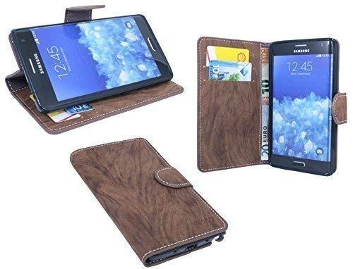 ENERGMiX Buchtasche Hülle kompatibel mit Samsung Galaxy Note Edge N915F Case Tasche Wallet BookStyle mit Standfunktion in Braun