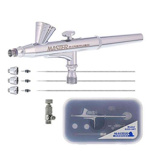 Master Performance G255 Pro Set Master Airbrush with 3 Nozzle Sets (0.2, 0.3 & 0.5mm Needles, Fluid Tips and Air Caps) - Dual-Action Gravity Feed Airbrush, 1/16oz Cup - Airbrush Guide - Art Hobby Cake