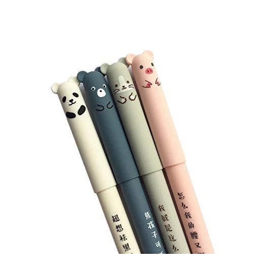 Lsgepavilion Gelschreiber, 0,35 mm, niedliches Cartoon-Tier, löschbar, blaue Tinte, für Studenten, Schreibwaren, Büro, Geschenk, 4 Stück Einheitsgröße Zufällige Farbauswahl