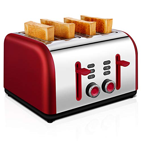 Toaster 4 Slice, CUSINAID Wide Slots Stainless Steel Toaster 4 Slice Best Prime with REHEAT/DEFROST/CANCEL Function, Red
