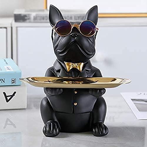 Raffreddare Bulldog Scultura Statua Francese con Vassoio in Acciaio Inox, Statua, Decorazione da Tavolo, Moda, Tessile per la casa, Multifunzione, archiviazione scrivania (Color : Black)