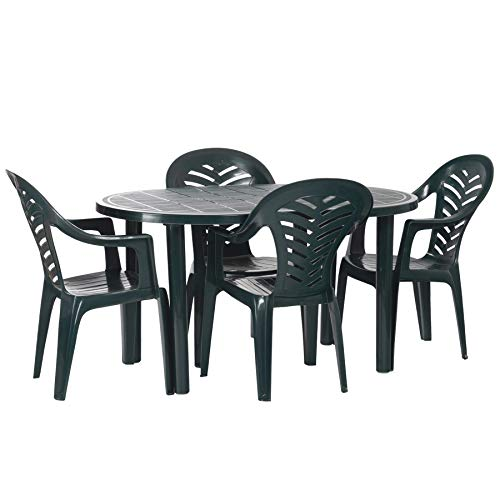 Resol 4 Person Gala Outdoor Garden Dining Table and Chairs Set - UV Resistant Patio Furniture - Green