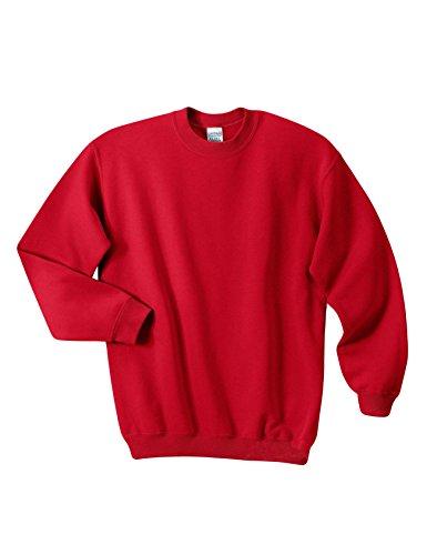 Bestgift Homme Sweatershirt à Manches Longue Col-Rond Sport Blouse Rouge X-Large