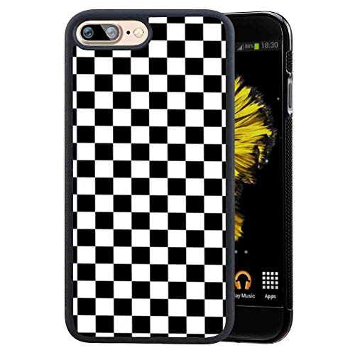 Cell Phone Case Fits for Apple iPhone 7 Plus & iPhone 8 Plus [5.5-Inch] Grid Lattice Plaid Quadrille Tartan Design Check Pattern Damier House Checkerboard Chessboard Checker Flag