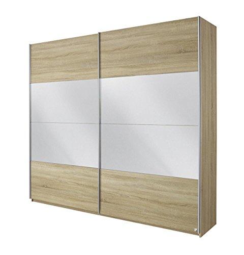 Rauch Schwebetürenschrank mit Spiegel Eiche Sonoma 2-türig, BxHxT 226x230x62 cm