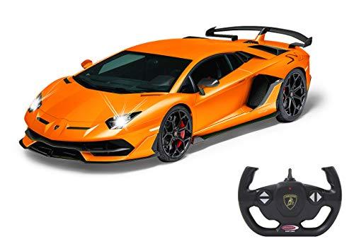 Jamara 405170 Lamborghini Aventador SVJ 1:14 orange 2,4GHz-offiziell lizenziert, bis zu 1 Stunde Fahrzeit bei ca. 9 Km/h, perfekt nachgebildete Details, hochwertige Verarbeitung