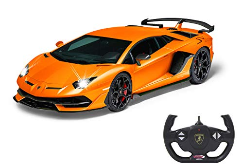 Jamara- Lamborghini Aventador SVJ 1:14 Naranja 2,4 GHz – Licencia Oficial, hasta 1 Hora de conducción en Aprox. 9 km/h, Detalles Perfectamente reproducidos,, Color (405170)