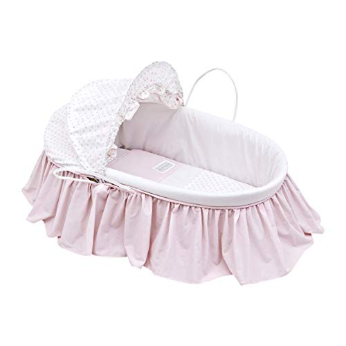 Cambrass Star - Capazo de palma con capota y vestidura, color rosa