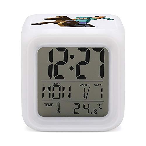 M-inecraftt - Reloj despertador digital con pantalla electrónica, color luminoso, para mesilla de noche, pantalla de temperatura ambiente, hora y fecha
