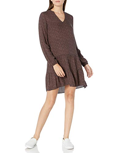 Amazon Brand - Goodthreads Women's Fluid Twill Relaxed Fit Notch Neck Tiered Mini Dress, Navy Mini Geo, Large