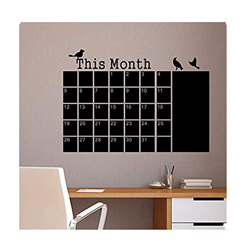 Dasongff Muursticker This Month Calendar Chalkboard sticker op de muur van de maandkalender tafel muur gegraveerd met de sticker van de tafel muursticker wanddecoratie 60 x 45cm zwart