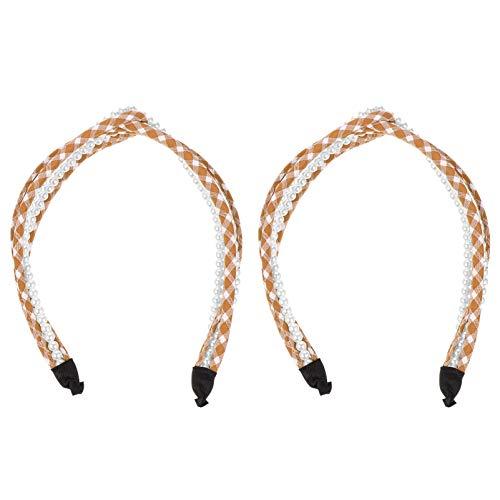 SOLUSTRE Diademas de Perlas Anudadas Banda para El Cabello de Yoga Accesorios para El Cabello Elásticos de Moda Tocado para Mujeres Y Niñas (Café)