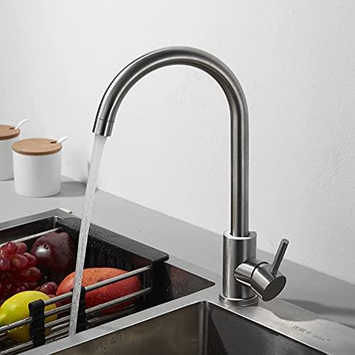 WYDM Grifos mezcladores de Fregadero de Cocina Modernos Caño Giratorio de 360 Grados Grifo de una Sola Palanca Grifo Mono Cepillado Diseño de Arco Alto