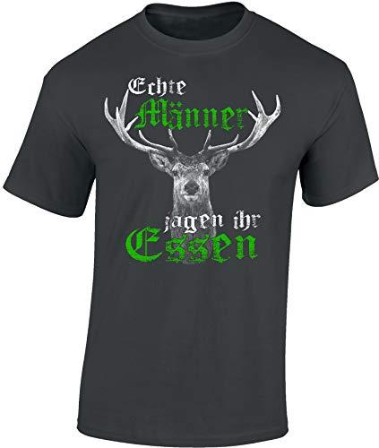 Jäger T-Shirt: Echte Männer jagen Ihr Essen - Geschenk für Jäger - Jägerbekleidung - Jagdkleidung Männer - Waidmannsheil - Hirsch - Jagd - Wild-Schwein - Jägerin - Grill BBQ - Army - Hunter (3XL)