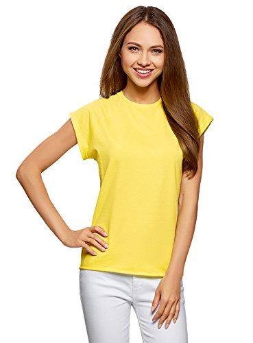oodji Ultra Mujer Camiseta de Algodón Básica con Borde No Elaborado, Amarillo, ES 36 / XS