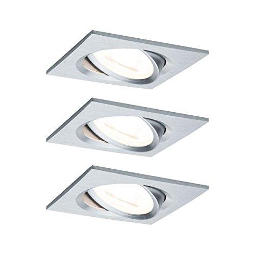 Paulmann Einbauleuchte LED Coin Nova eckig 6,5W Alu 3er-Set schwenkbar 3-Stufen-Dimmbar IP23 sprühwassergeschützt