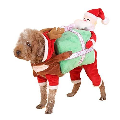 Cxjff Disfraz de Papá Noel para perro, cachorro, ropa de regalo suave, bonita para fiesta de...