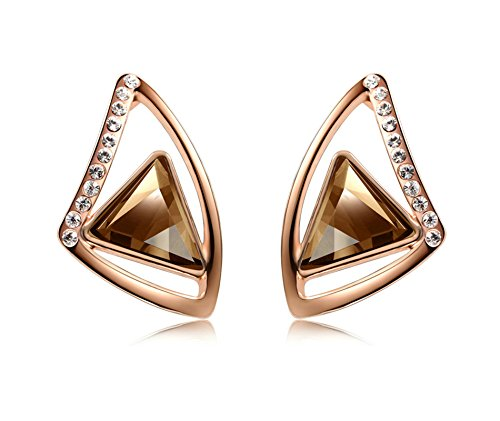 AieniD Frauen Ohrringe Vergoldet Ohrring für Damen Dreieckiger Nachgeahmter Kristall Rose Gold