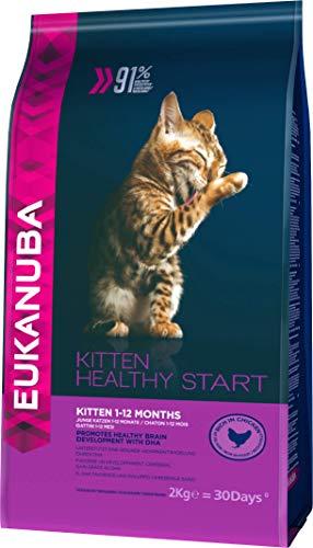 Eukanuba Premium Katzenfutter, 100% ausgewogenes Trockenfutter mit viel Huhn, abgestimmt auf Kitten / Junior Katzen, 2 kg