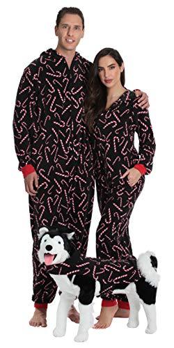 #followme Family Pajamas Candy Cane Microfleece Mens Adult Onesie 6754-10179-XXL