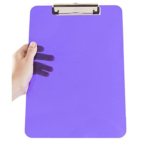 JAM PAPER Plastic Clipboards with Low Profile Metal Clip - Letter Size (9 x 12.5) - Violet Purple - Clip Board Sold Individually