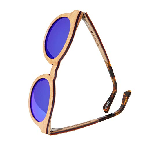 WOLA tondi occhiali da sole in legno SELVA donna i uomo legno, tondi sunglasses eyewear UV400 - polarizzati acero