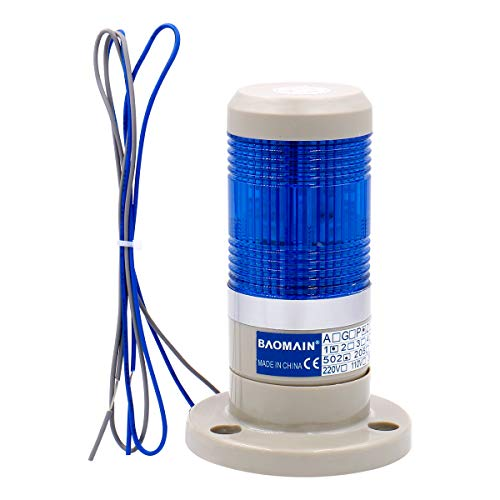 Baomain Warning Continuous Light 110V AC Industrial Continuous Blue LED Signal Tower Lamp