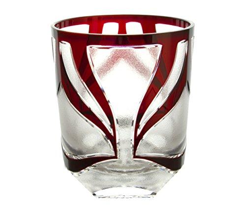 清水硝子 ロックグラス [ 赤(赤隈) / かぶきりこ / 約口径7.6×H9cm ] グラス 日本製 桐箱入り (誕生日 ギフト プレゼント)