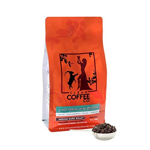 Clean Coffee Co Whole Bean Coffee, Medium Dark Roast, 12 Ounce Bag, Single-Origin, Toxin-Free, Rich In Antioxidants, Low Acid, Smooth Taste