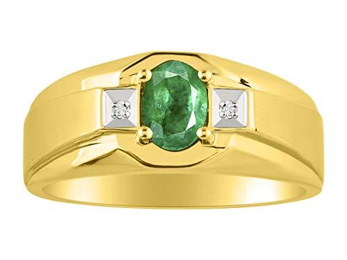 Verde esmeralda y anillo de diamante en 14K oro amarillo chapado en plata con acabado satinado