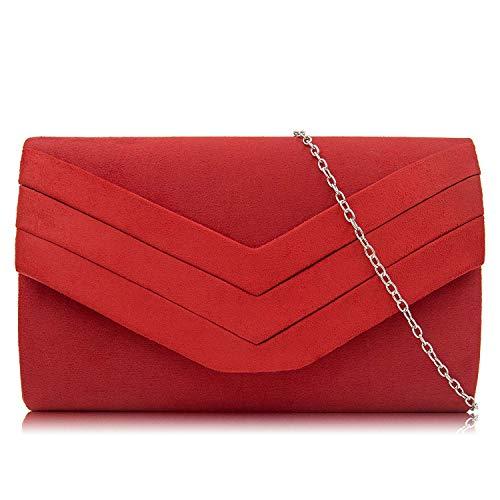 Milisente Damen Clutch, Wildleder Clutch Umschlag Crossbody schultertasche Clutch Tasche Abendtasche (rot)