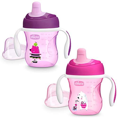 Chicco Training Cup Bicchiere Antigoccia Bambini 200 ml, Tazza 6+ Mesi per Imparare a Bere, con Beccuccio Ergonomico Semi-Soft, Valvola e Manici Rimovibili - Rosa/Viola, Colori Assortiti