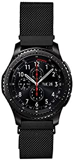Clsy Compatible with Galaxy Watch 42mm/Galaxy Watch Active Bands, 20mm Stainless Steel Mesh Loop Bracelet Strap Replacement for Gear Sport/Gear S2 Classic Watch (20mm,Black)
