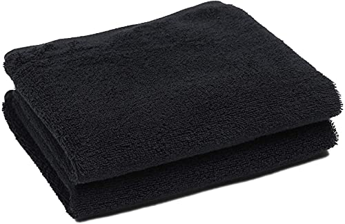 Juego de 2 Toallas de Lavabo Damasco 50x100 cm, Color Negro, 100% algodón de 520 g/m2 con Rizo Americano de 1 Cabo