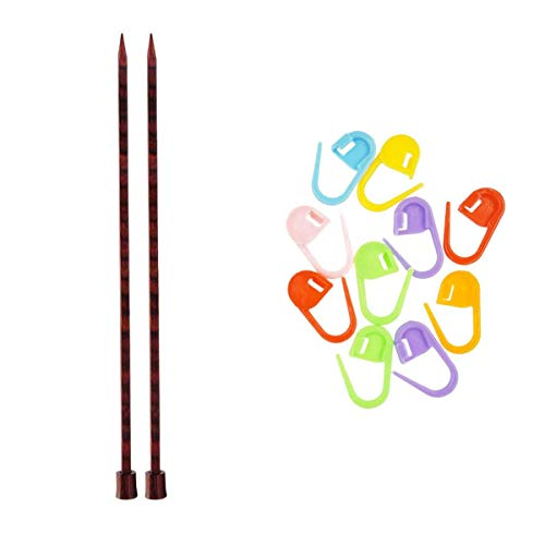 Knitter s Pride Knitting Needles Cubics Single Point 14 inch (35cm) Size US 7 (4.5mm) Bundle with 10 Artsiga Crafts Stitch Markers 300333