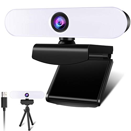 2K Webcam with Ring Light & Dual Microphone, Plug and Play Web Camera with Tripod, Adjustable Brightness, Privacy Protection, Streaming Webcam, USB Webcam for PC Laptop MAC Zoom Skype Teams YouTube