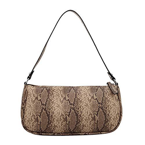 Women Retro Classic Crocodile Snakeskin Pattern Clutch Shoulder Baguette Bag with Magnetic Closure (Snakeskin 1)