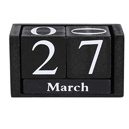 Calendario - Calendario de Escritorio perpetuo de Madera - Decoración para el hogar y la Oficina, 3.7 x 2.04 x 1.61 Pulgadas(Negro)