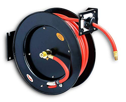 ReelWorks Air Hose Reel 3/8' Inch x 50' Foot Max 300PSI Steel Construction Industrial SBR Rubber Hose