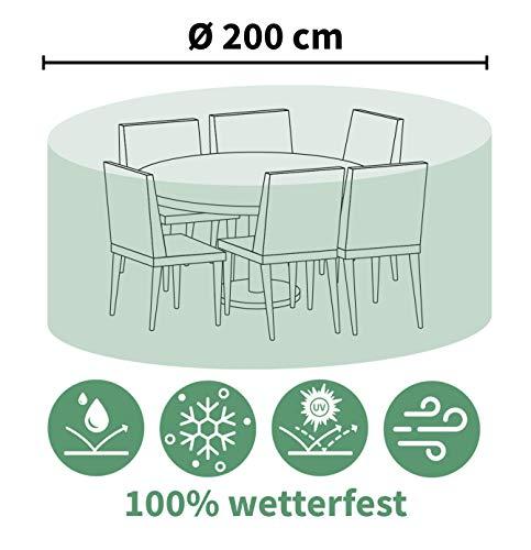 ACAMP Abdeckung für Outdoor Gartenmöbel rund 200 cm – schützt vor Wind, Regen und Sonneneinstrahlung – robuste Schutzhülle mit perfektem Sitz – schützt vor Wind, Regen und Sonneneinstrahlung – reißfeste Abdeckhaube