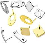 FICI Jewelry Accessory 20pcs Polygonal Stainless Steel Gold Earring Stud Ear Hook Pad Base DIY Man Woman Earring Jewelry Making Findings Accessories