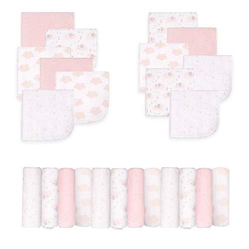 Viviland Baby Waschlappen 24er Pack, weichstes Baby Badetuch mit super Saugfähigkeit, bestes Baby Registry und Baby Shower Geschenk, süßer Elefant