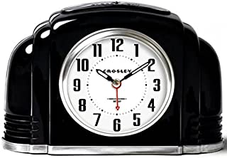 Crosley Vintage Analog Alarm Clock for Mantel and Bedrooms, Quiet Sweep Non-Ticking, Automatic Smart Light, Dimmable Night Light, Ascending Beep, Simple Setting Controls, Battery Powered, 33388B